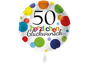 Runder Luftballon mit bunten Punkten Herzlichen Glückwunsch Zahl 50 weiß (38 cm)