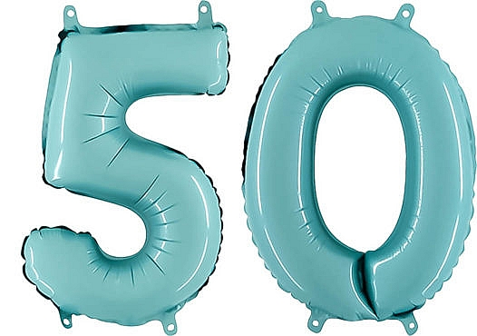 Luftballon Zahl 50 Zahlenballon pastell-blau (100 cm)