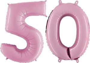 Luftballon Zahl 50 Zahlenballon pastell-pink (100 cm)