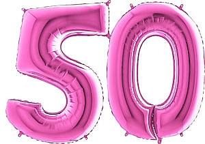 Luftballon Zahl 50 Zahlenballon pink (66 cm)