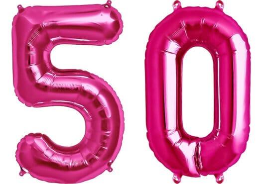 Luftballon Zahl 50 Zahlenballon pink (86 cm)