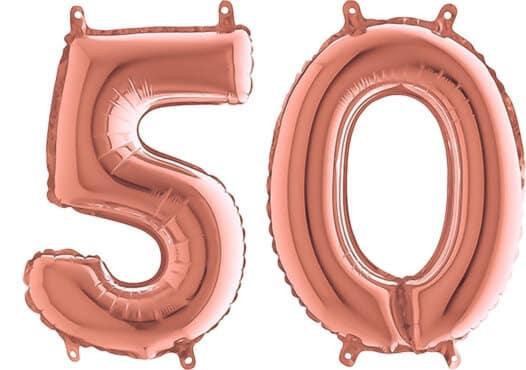 Luftballon Zahl 50 Zahlenballon rosegold (66 cm)