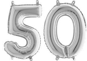 Luftballon Zahl 50 Zahlenballon silber (66 cm)