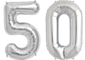 Luftballon Zahl 50 Zahlenballon silber (86 cm)