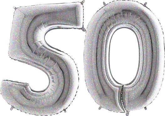 Luftballon Zahl 50 Zahlenballon silber-holographic (100 cm)