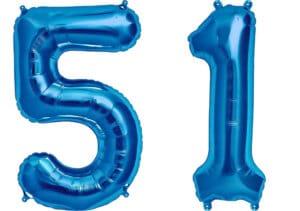 Luftballon Zahl 51 Zahlenballon blau (86 cm)