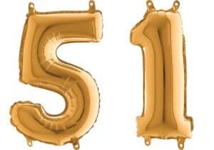 Luftballon Zahl 51 Zahlenballon gold (66 cm)