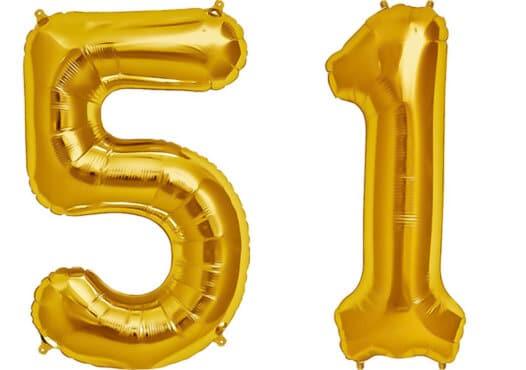 Luftballon Zahl 51 Zahlenballon gold (86 cm)