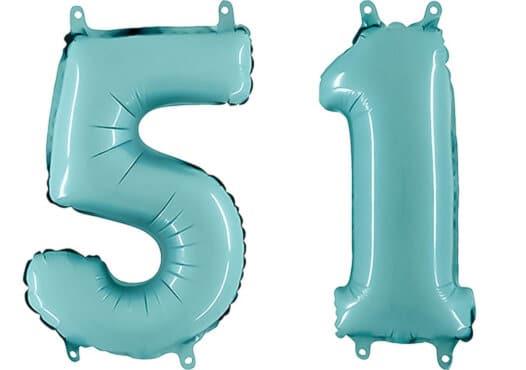 Luftballon Zahl 51 Zahlenballon pastell-blau (100 cm)