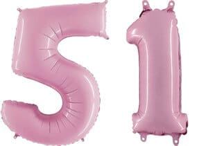 Luftballon Zahl 51 Zahlenballon pastell-pink (100 cm)