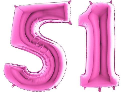 Luftballon Zahl 51 Zahlenballon pink (66 cm)