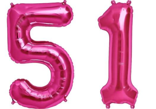Luftballon Zahl 51 Zahlenballon pink (86 cm)
