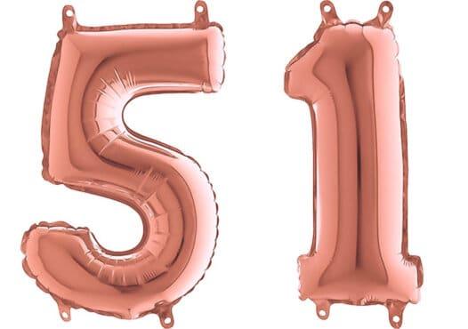 Luftballon Zahl 51 Zahlenballon rosegold (66 cm)