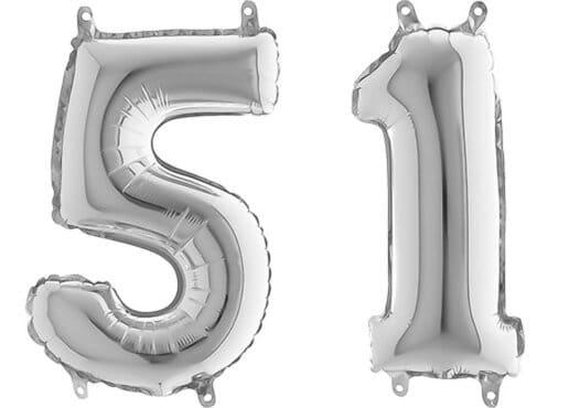 Luftballon Zahl 51 Zahlenballon silber (66 cm)