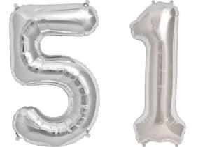 Luftballon Zahl 51 Zahlenballon silber (86 cm)