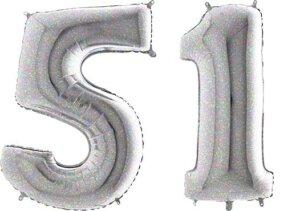 Luftballon Zahl 51 Zahlenballon silber-holographic (100 cm)
