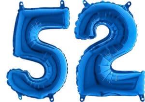 Luftballon Zahl 52 Zahlenballon blau (66 cm)