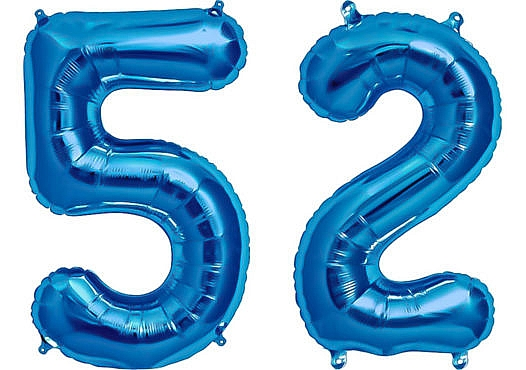 Luftballon Zahl 52 Zahlenballon blau (86 cm)