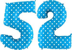 Luftballon Zahl 52 Zahlenballon blau mit weißen Punkten (100 cm)