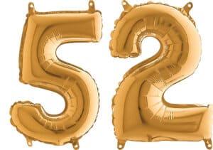 Luftballon Zahl 52 Zahlenballon gold (66 cm)