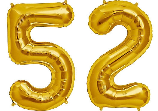 Luftballon Zahl 52 Zahlenballon gold (86 cm)