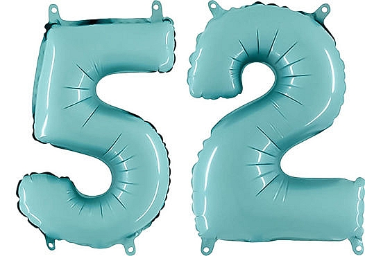 Luftballon Zahl 52 Zahlenballon pastell-blau (100 cm)