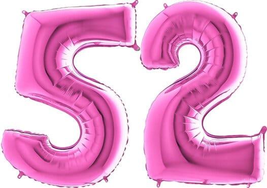 Luftballon Zahl 52 Zahlenballon pink (66 cm)