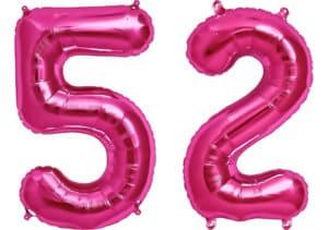 Luftballon Zahl 52 Zahlenballon pink (86 cm)