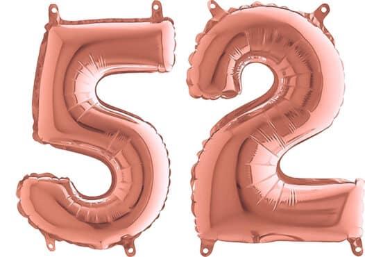 Luftballon Zahl 52 Zahlenballon rosegold (66 cm)