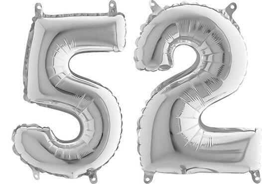 Luftballon Zahl 52 Zahlenballon silber (66 cm)