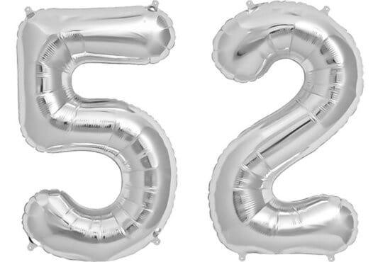 Luftballon Zahl 52 Zahlenballon silber (86 cm)