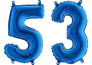 Luftballon Zahl 53 Zahlenballon blau (66 cm)