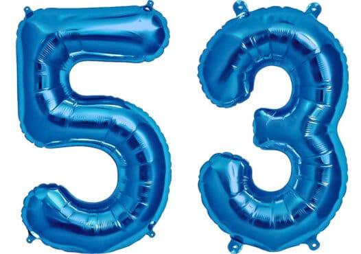 Luftballon Zahl 53 Zahlenballon blau (86 cm)