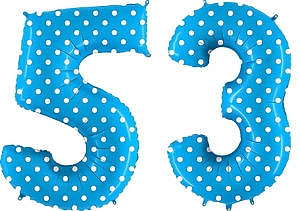 Luftballon Zahl 53 Zahlenballon blau mit weißen Punkten (100 cm)