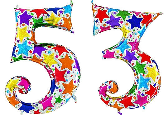 Luftballon Zahl 53 Zahlenballon silber mit bunten Sternen (100 cm)