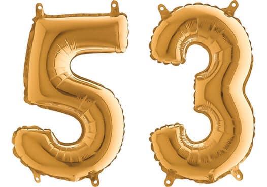Luftballon Zahl 53 Zahlenballon gold (66 cm)
