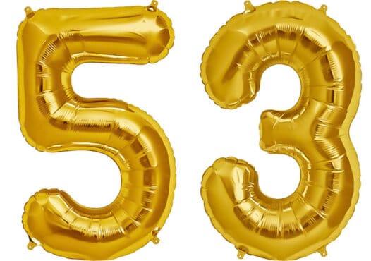 Luftballon Zahl 53 Zahlenballon gold (86 cm)