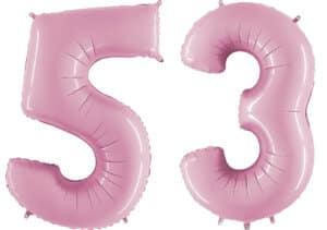 Luftballon Zahl 53 Zahlenballon pastell-pink (100 cm)