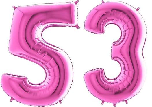 Luftballon Zahl 53 Zahlenballon pink (66 cm)