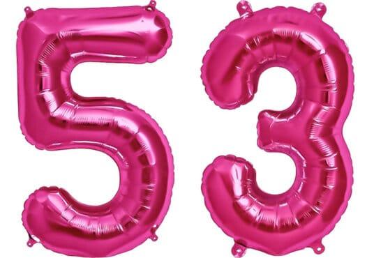 Luftballon Zahl 53 Zahlenballon pink (86 cm)