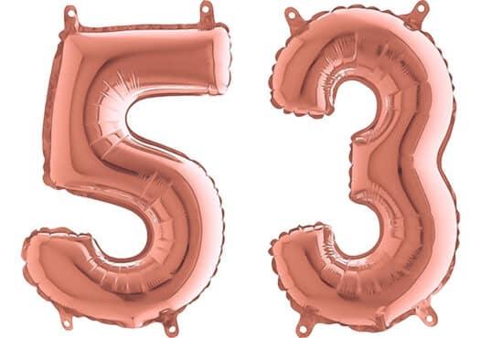 Luftballon Zahl 53 Zahlenballon rosegold (66 cm)