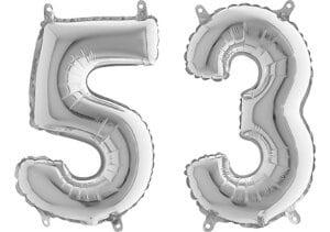 Luftballon Zahl 53 Zahlenballon silber (66 cm)