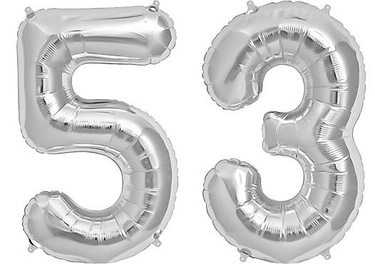 Luftballon Zahl 53 Zahlenballon silber (86 cm)
