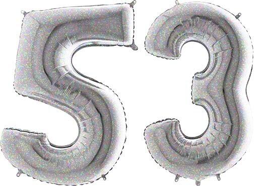 Luftballon Zahl 53 Zahlenballon silber-holographic (100 cm)