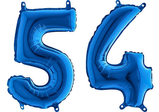 Luftballon Zahl 54 Zahlenballon blau (66 cm)