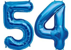 Luftballon Zahl 54 Zahlenballon blau (86 cm)