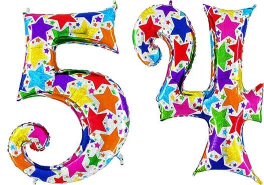 Luftballon Zahl 54 Zahlenballon silber mit bunten Sternen (100 cm)