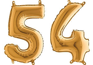 Luftballon Zahl 54 Zahlenballon gold (66 cm)