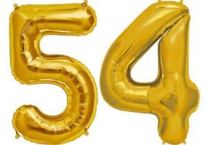 Luftballon Zahl 54 Zahlenballon gold (86 cm)
