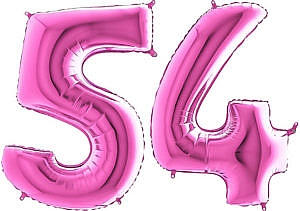 Luftballon Zahl 54 Zahlenballon pink (66 cm)